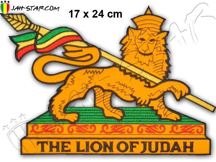 Iron on Patch Rasta Reggae Roots Rastafari Haile Selassie ... Conquering Lion Of Judah