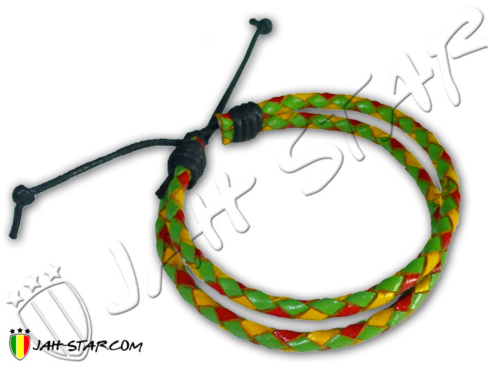 Leather Braided Bracelet Rasta Reggae Green Yellow Red