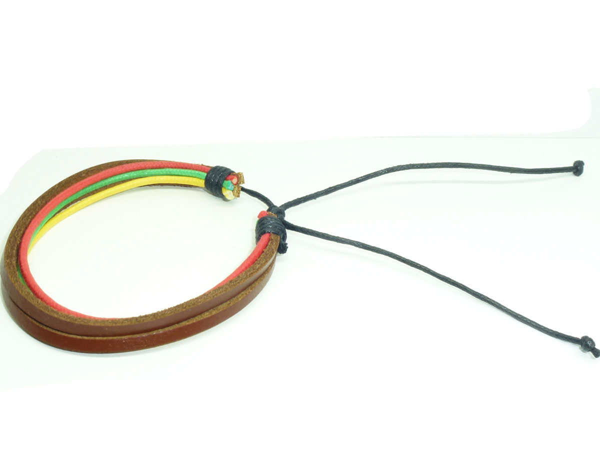 Leather Bracelet Rasta Reggae Green Yellow Red