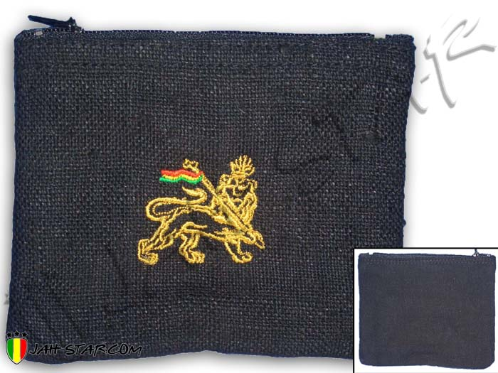 Purse Bag Rasta Reggae Jamaica Roots Ragga Lion Embroidered Hemp