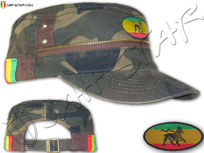 Cap Rasta Captain Army Cap Lion Zion