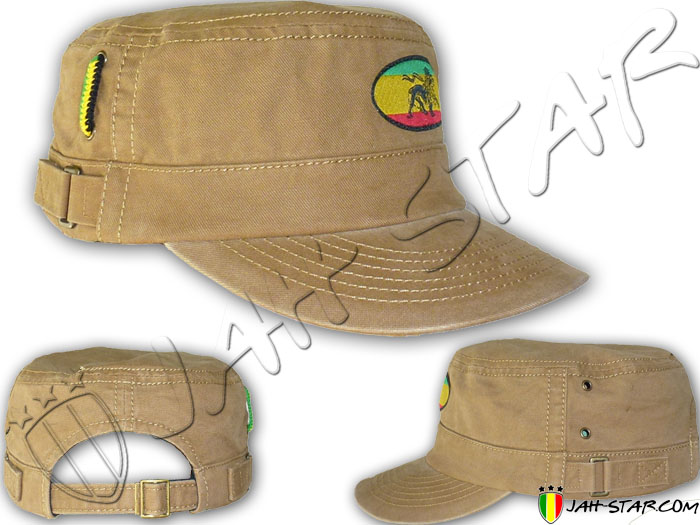 Cap Rasta Reggae Roots Captain Army Cap Lion Of Judah