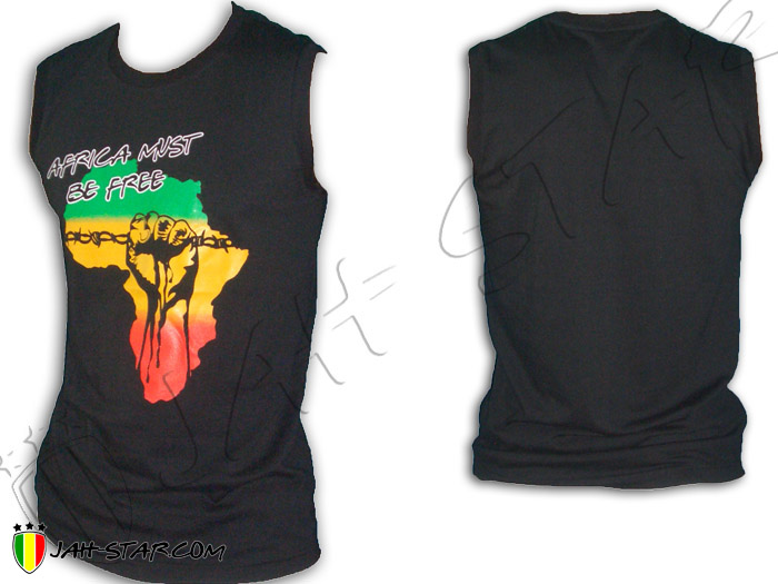 Sleeveless Rasta Reggae Africa Power Fist Must be Free Freedom