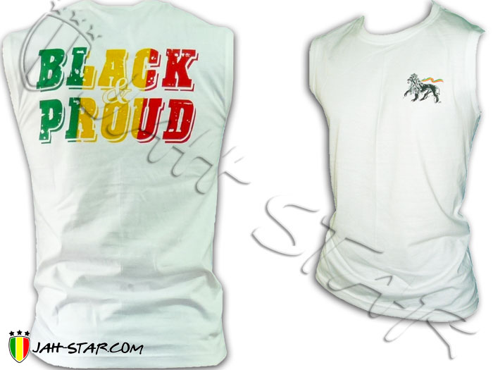 Sleeveless Rasta Roots Reggae Lion Of Judah Black & Pround Bob Marley