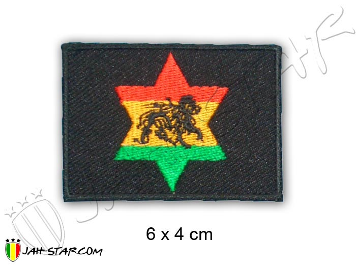 Iron on Patch Rasta Reggae Roots Lion Of Judah Star