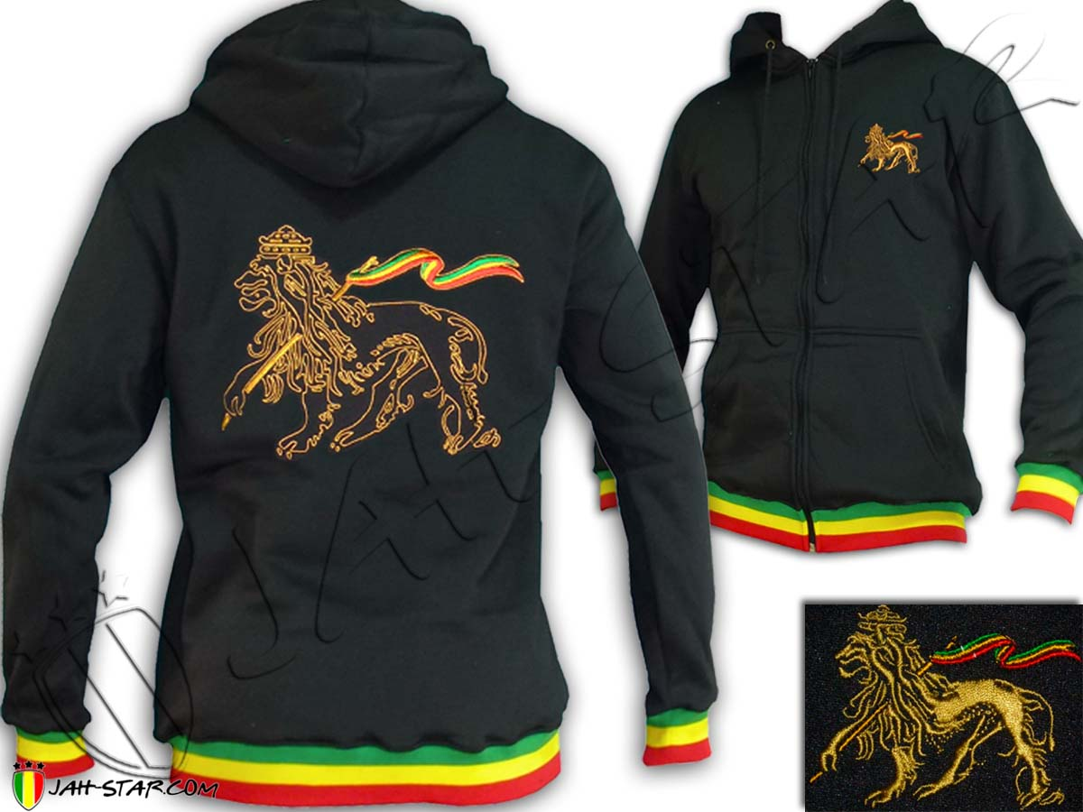 Jacket Hoodie Rasta Reggae Lion Of Judah Embroidered