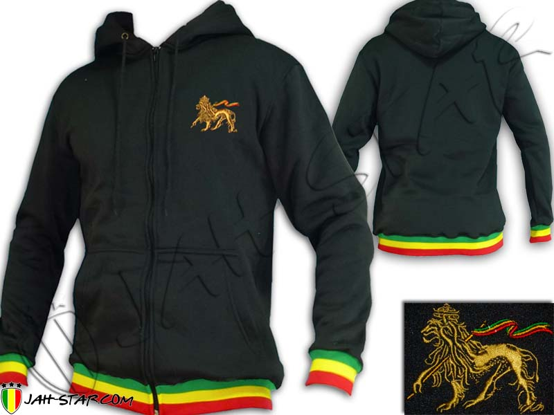 Jacket Hoodie Rasta Reggae Lion Embroidered
