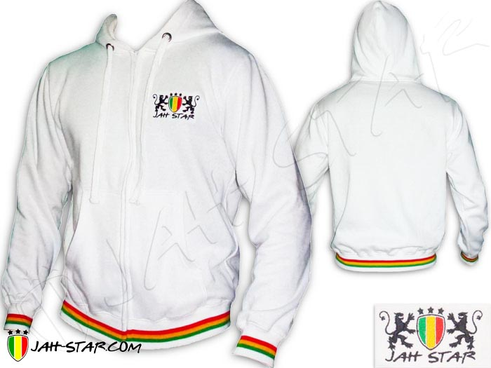Jacket Hoodie Rasta Reggae Jah Star Lion Of Judah Embroidered