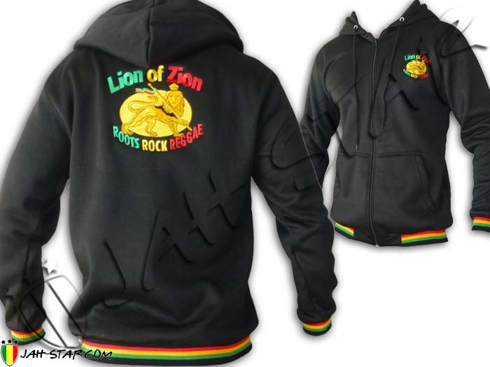 Jacket Hoodie Rasta Lion of Zion Roots Rock Reggae Embroidered