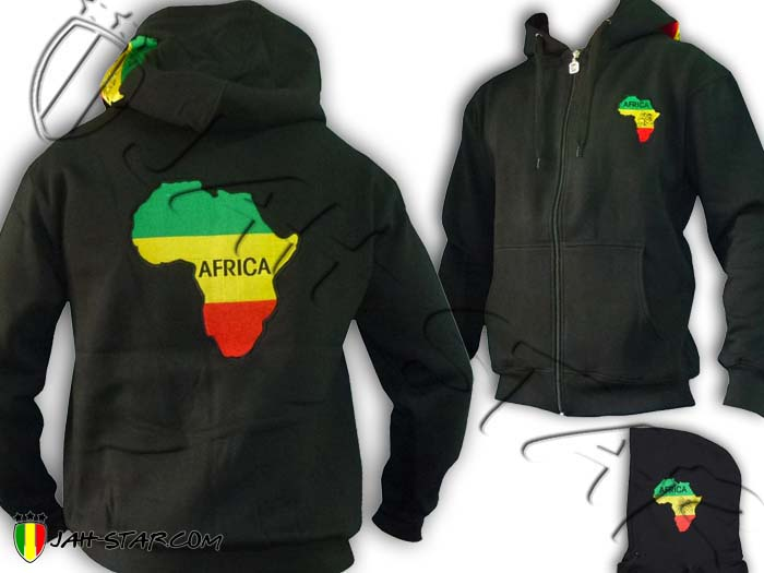 Jacket Jumper Thick Rasta Baby Africa Black Power Logo Embroidered