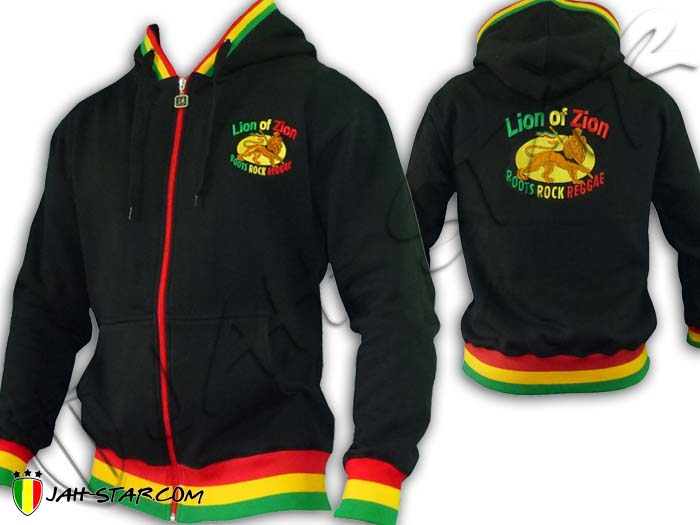Jacket Jumper Thick Hoodie Rasta Lion of Zion Roots Rocks Reggae Logo Embroidered