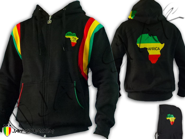 Jacket Jumper Thick Hoodie Rasta Lion Zion Africa Logo Embroidered