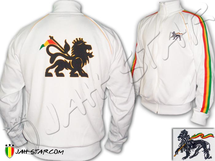 Jacket Reggae Rasta Lion Of Judah Aswad White
