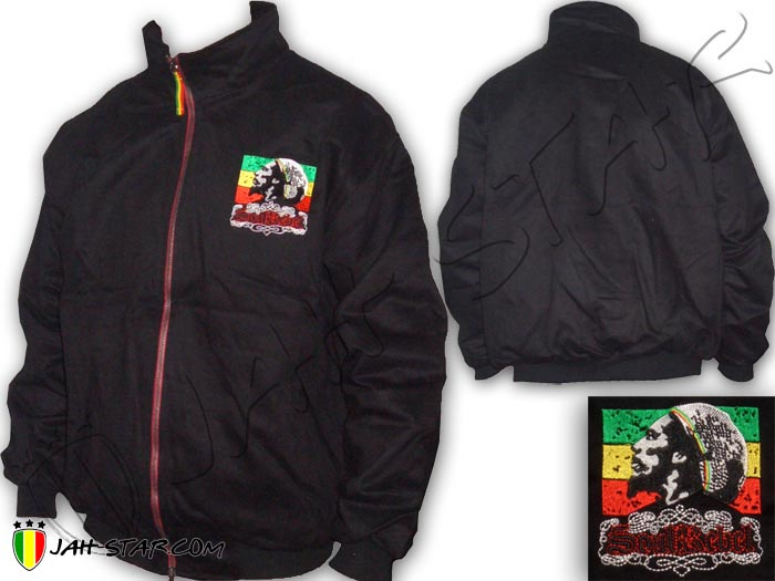 Double Layer Coat Rasta Reggae Bob Marley Logo Embroidered