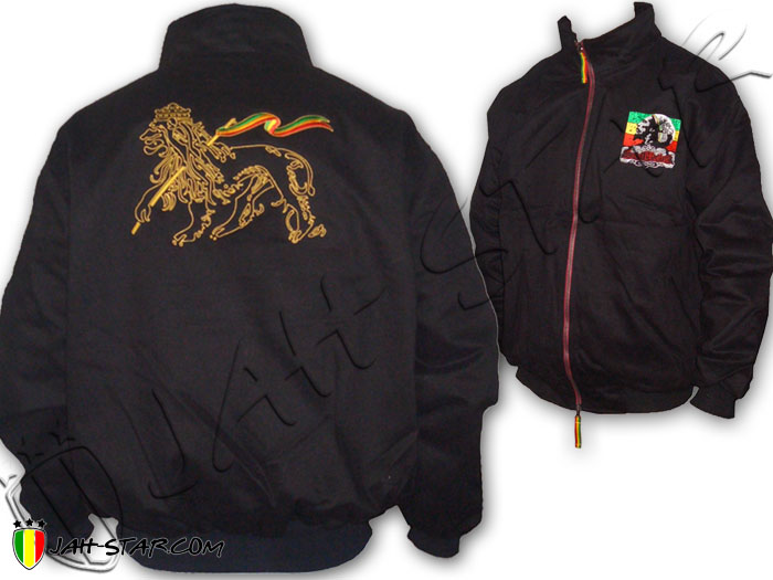 Double Layer Coat Rasta Reggae Conquering Lion Of Judah Bob Marley Logo Embroidered