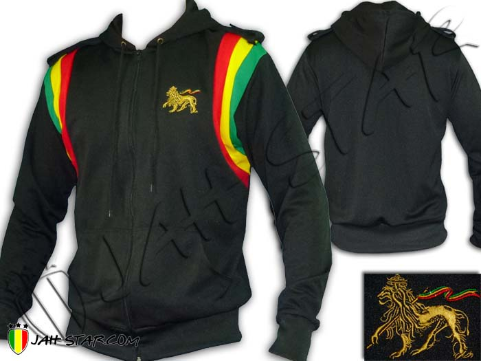 Jacket Hoodie Rasta Reggae Roots Jah Star Army Jamaica Bob Marley Lion Embroidered
