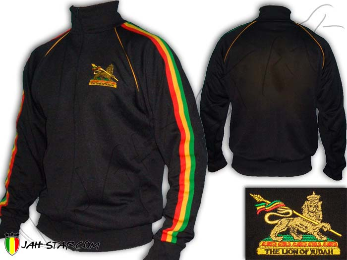 Jacket Rasta Reggae Conquering Lion of Judah Logo Embroidered