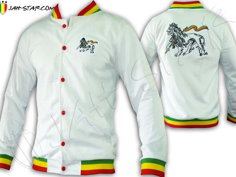 Jacket Rasta Reggae Lion of Judah Embroidered on back Rasta Neck