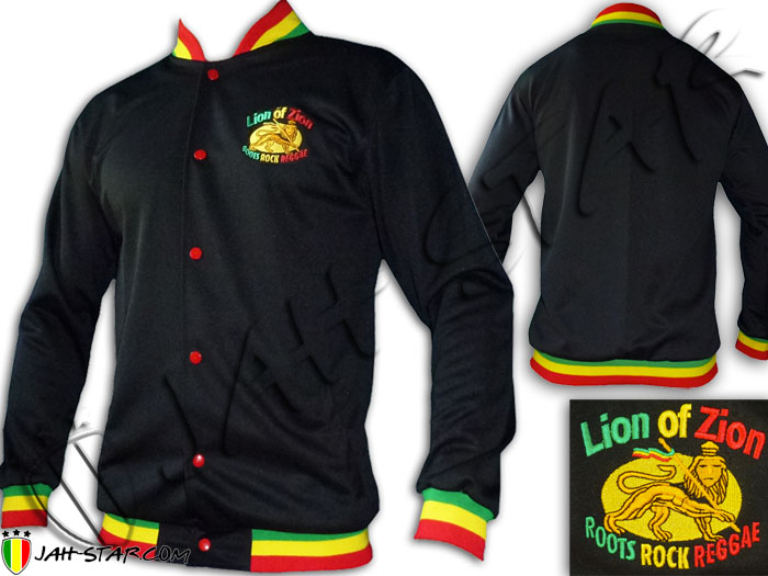 Jacket Rasta Reggae Lion Zion logo Embroidered Rasta Neck