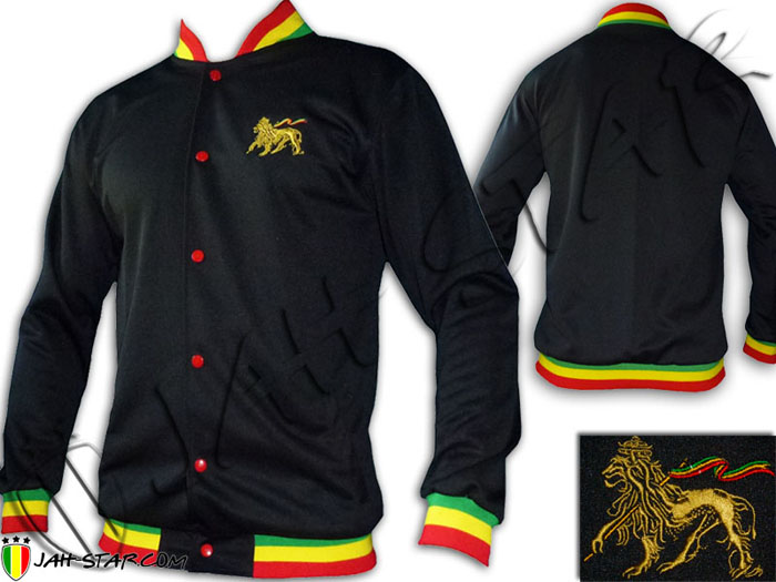 Jacket Rasta Reggae Lion of Judah Embroidered Rasta Neck