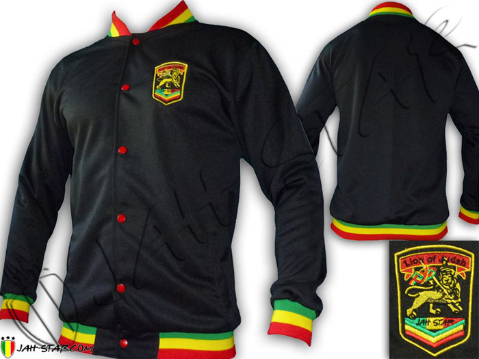 Jacket Rasta Reggae Logo Jah Star Embroidered Rasta Neck