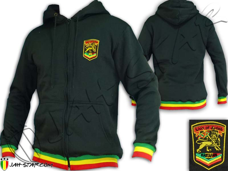 Jacket Hoodie Rasta Reggae Lion Rastafari Logo Embroidered