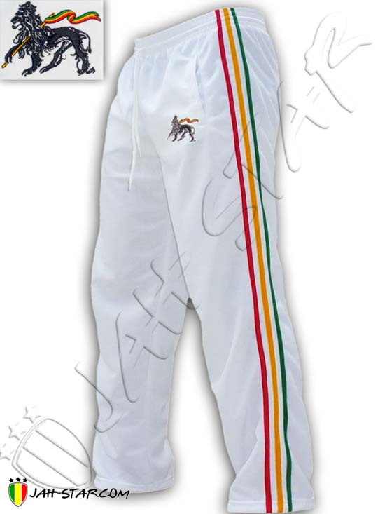 Pant 3 stripes Rasta Rock Reggae Lion Of Judah Logo Embroidered