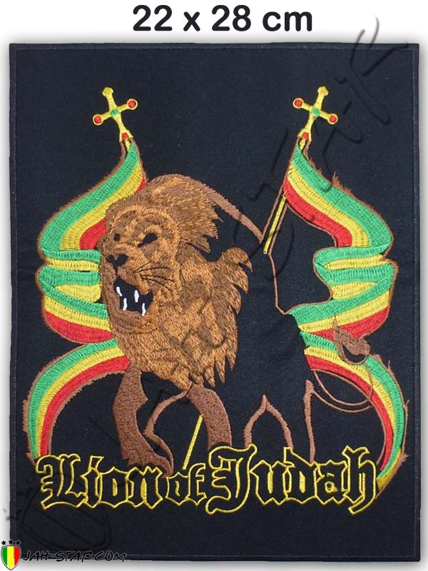 Big Iron on Patch Rasta Conquering Lion Of Judah 22 x 28 cm.