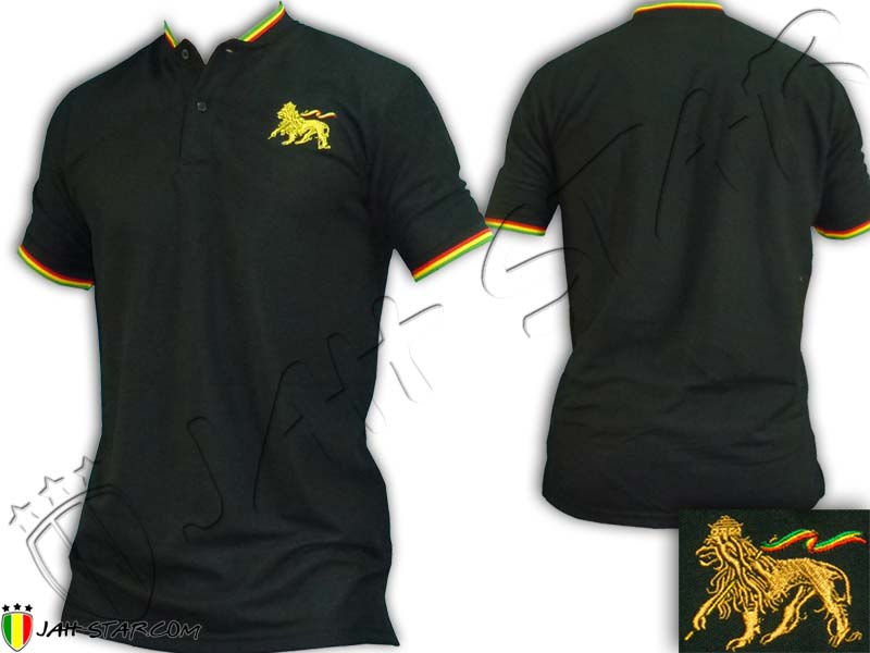 Polo Without Collar Rasta Bob Marley Lion Of Judah Embroidered
