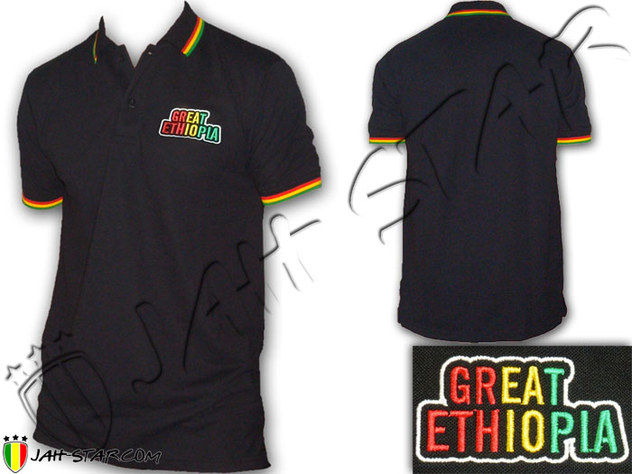 Polo Reggae Rasta Great Ethiopia Logo Embroidered