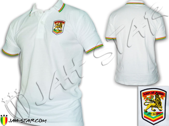 Polo Reggae Rasta Roots Jah Love Rastafari Lion Of Judah Logo Embroidered