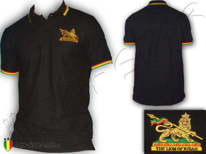 Polo Reggae Rasta Roots Conquering Lion Of Judah Logo Embroidered
