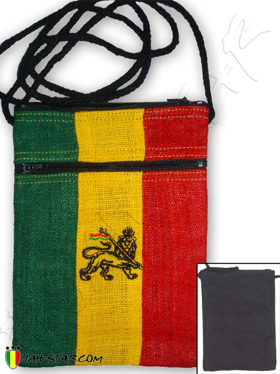 Bag Pannier Passport Bag Rasta Reggae Conquering Lion Of Judah Green Yellow Red