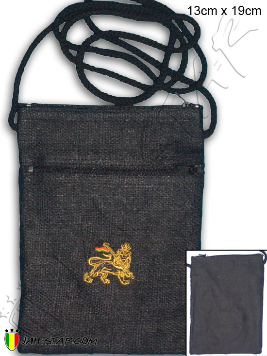 Bag Pannier Passport Bag Rasta Reggae Conquering Lion Of Judah Black
