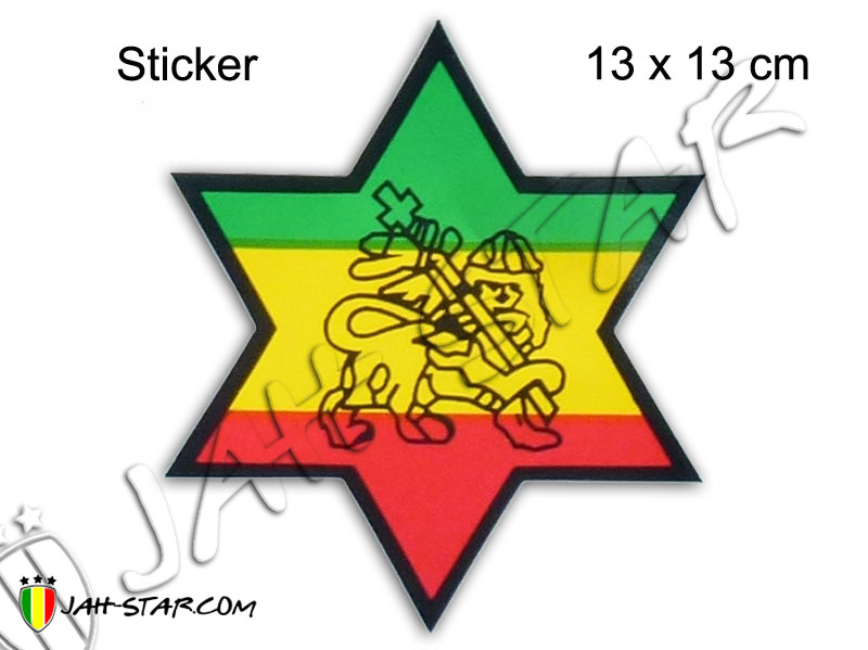Sticker Rasta Reggae Star Lion Of Judah