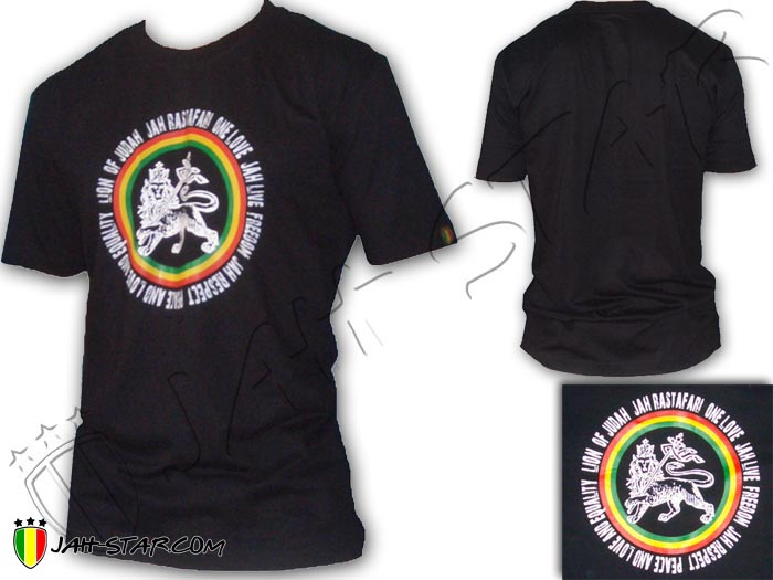 T-Shirt Rasta Roots Reggae Jah Live Lion Of Judah One Love