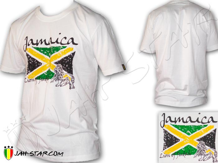 T-Shirt Rasta Reggae Rock Lion Jamaica Flag