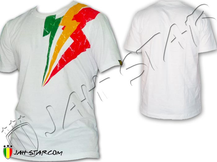 T-Shirt Rasta Wear Reggae Roots Jah Star Lightning Storms