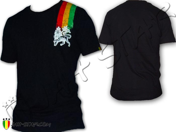 T-Shirt Rasta Wear Reggae Line Jah Star Lion Of Judah