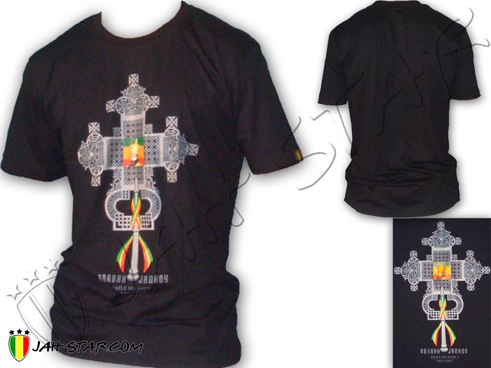 T-Shirt Rasta Reggae Wear Haile Selassie I the First Orthodox Cross