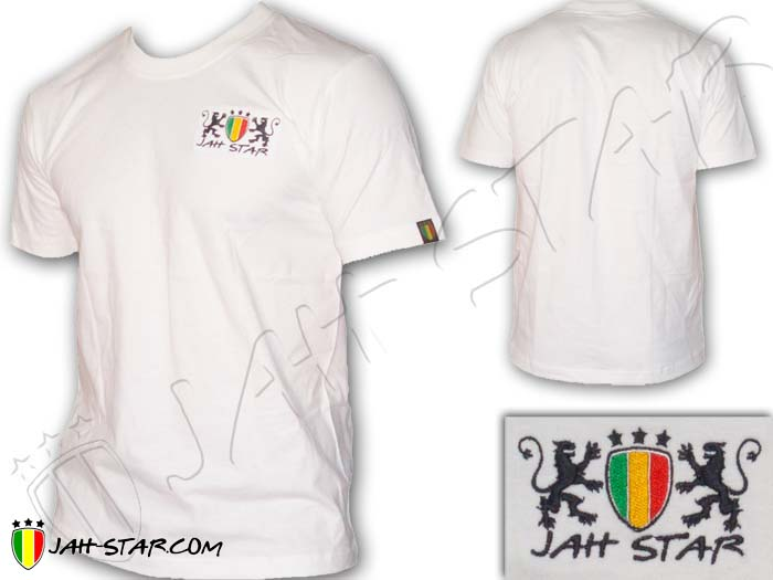 T-Shirt Rasta Reggae Lion Jah Star Logo Embroidered