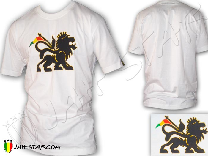 T-Shirt Reggae Rasta Lion Of Judah Aswad White