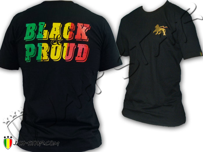 T-Shirt Rasta Roots Reggae Lion Of Judah Black & Pround Bob Marley