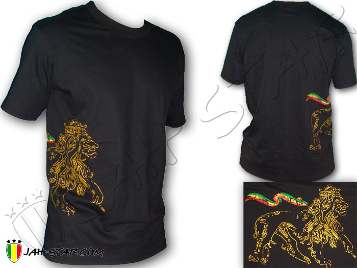 T-Shirt Rasta Reggae Conquering Lion of Judah Side Jah Star