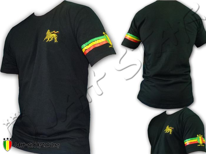 T-Shirt Rasta Wear Jah Star Lion Of Judah Embroidered 3 Stripe Sleeve