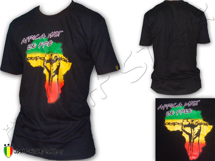 T-Shirt Rasta Reggae Africa Power Fist Must be Free Freedom