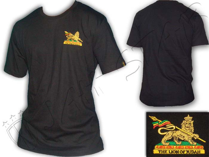 T-Shirt Rasta Reggae Conquering Lion of Judah Logo Embroidered