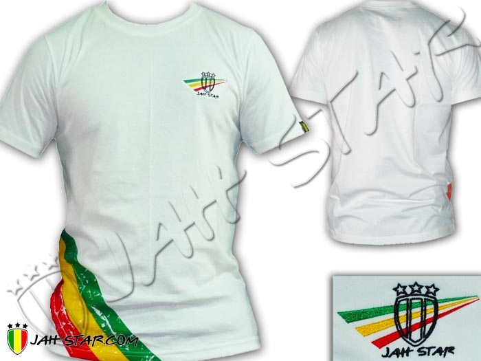 T-Shirt Rasta Wear Jah Star Logo Embroidered 3 Stripes