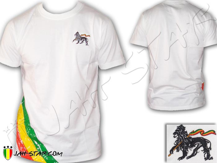 T-Shirt Rasta Reggae Jah Star Lion Of Judah Embrodered 3 Stripe