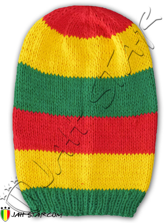 Beanie Roots Rock Rasta Reggae Jamaica Cap Hat with Stripes Dreadlocks